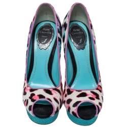 René Caovilla Multicolor Leopard Pony Hair And Crystal Embellished Satin Platform Peep Toe Pumps Size 37