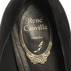 René Caovilla Black Suede Leather Crystal Embellished Block Heel Pumps Size 40