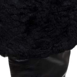 Rene Caovilla Black Leather And Faux Fur Knee High Boots Size 39
