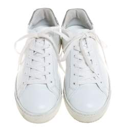 Rene Caovilla White Leather Crystal Embellished Lace Up Sneakers Size 38