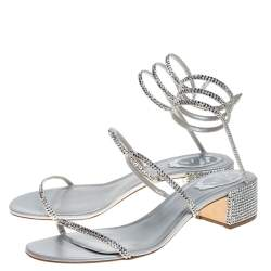 Rene Caovilla Silver Satin and Leather Cleo Crystal Embellished Sandals Size 40