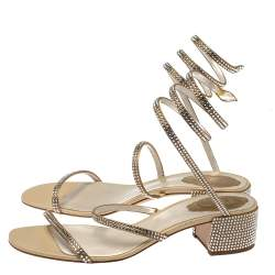 Rene Caovilla Metallic Gold Crystal Embellished Ankle Wrap Sandals Size 39