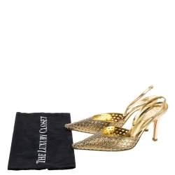 Rene Caovilla Metallic Gold Leather Embellished Slingback Pumps Size 37