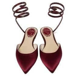 René Caovilla Burgundy Satin Crystal Embellished Ankle Wrap Pointed Toe Flats Size 37