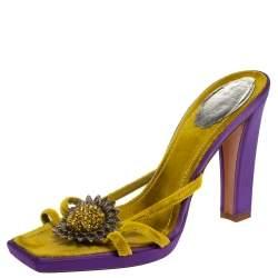 René Caovilla Yellow Velvet Flower Embellished Slide Sandals Size 39