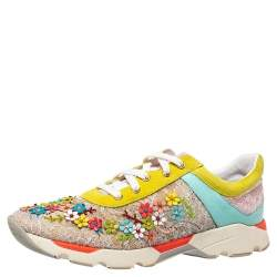 Rene Caovilla Multicolor Lace And Suede Flower Embellished Lace Up Sneakers Size 40