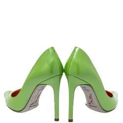 حذاء كعب عالي رينيه كوفيللا جلد أخضر لامع مقدمة مدببة مقاس 35.5