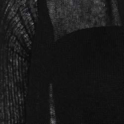 Rick Owens Black Alpaca Wool Open Front Water Fall Cardigan  S