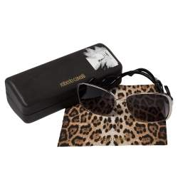 Roberto Cavalli Black Acetate Minkar Square Sunglasses