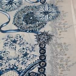 Roberto Cavalli Cream Floral Print Satin Silk Scarf