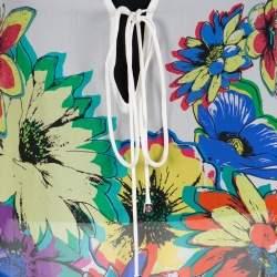 Roberto Cavalli Multicolor Floral Printed Silk Kaftan Top S