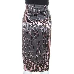 Roberto Cavalli Pink and Grey Animal Print Silk Midi Skirt M