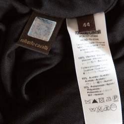 Roberto Cavalli Black Knit Sequined & Draped One Shoulder Dress M