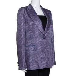 Roberto Cavalli Purple Floral Print Silk Tailored Jacket L