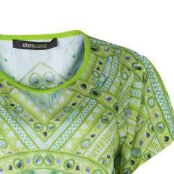 Roberto Cavalli Green Silk Printed Mirror Detail Top M