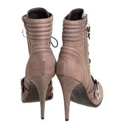 Roberto Cavalli Grey Nubuck Round-Toe Lace-Up Boots Size 39