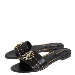 Roberto Cavalli Black Leather Logo And Stud Embellished Flat Sandals Size 36