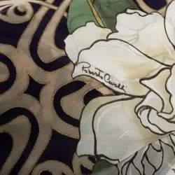 Roberto Cavalli Navy Blue Graphic Floral Print Silk Scarf
