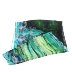 Roberto Cavalli Green Floral Printed Silk Tulle Stole
