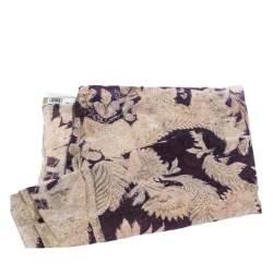 Roberto Cavalli Purple & Cream Damask Foil Print Silk Scarf