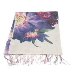 Roberto Cavalli Mauve Floral Print Cashmere Blend Fringed Scarf