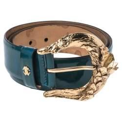 حزام روبرتو كافالي إبزيم جلد لامع أزرق مخضر 95 سم
