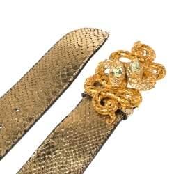 Roberto Cavalli Metallic Gold Python Serpent Buckle Belt 90CM