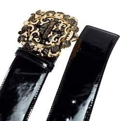 Roberto Cavalli Black Patent Leather Round Logo Buckle Belt 90CM