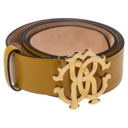 Roberto Cavalli Yellow Leather Logo Buckle Belt 100 CM
