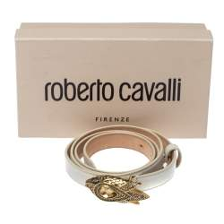 Roberto Cavalli White Leather Crystal Embellished Serpent Narrow Belt 100CM