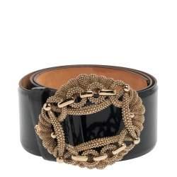 Roberto Cavalli Petroleum Green Patent Leather Buckle Embellished Wide Belt 90CM