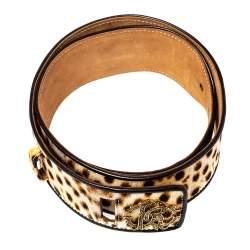 Roberto Cavalli Brown Leopard Print Canvas and Leather Waist Belt 80 CM