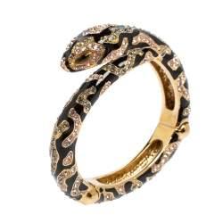 Roberto Cavalli Snake Head Crystal Enamel Gold Tone Open Cuff Bracelet