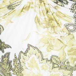 Roberto Cavalli White Floral Printed Ruffle Sleeve Detail Top S
