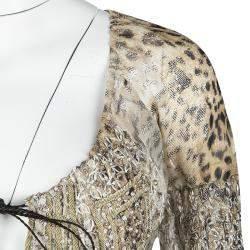 Roberto Cavalli Leopard Print Metallic Embroidered Silk Long Sleeve Sheer Tunic S