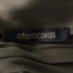 Roberto Cavalli Grey Scallop Lace Panel Detail Satin Ruched Sleeveless Dress M