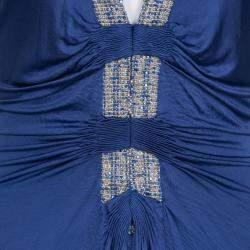 Roberto Cavalli Blue Knit Bead Embellished Halter Dress M