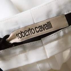 Roberto Cavalli Firenze White Cotton High Waist Straight Fit Pants L