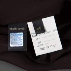 Roberto Cavalli Brown Ruffled Silk Sheer Blouse S