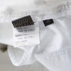 Roberto Cavalli Off White Foil Printed Denim Straight Jeans S