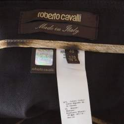 Roberto Cavalli Black Cotton Buckle Detail Belted Maxi Skirt S