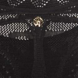 Roberto Cavalli Black Perforated Knit Long Sleeve Bodycon Dress S