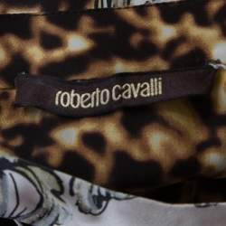 Roberto Cavalli Multicolor Animal and Baroque Printed Silk Pleated Sleeveless Dress S