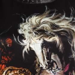 Roberto Cavalli Black Animal Print Silk Leather Trim Blouse M