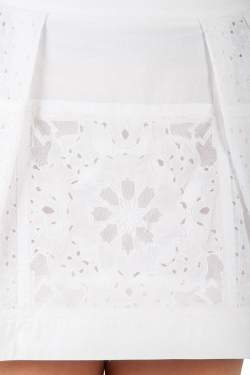 Roberto Cavalli White Broderie Anglaise Cotton Lace Paneled Mini Skirt S