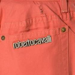 Roberto Cavalli Coral Pink Cotton Twill Denim Logo Print Distressed Jeans L