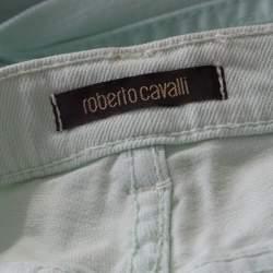 Roberto Cavalli Mint Blue Washed Denim Crinkled Effect Flared Jeans M