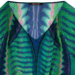 Roberto Cavallli Green Printed Silk Kaftan Blouse M