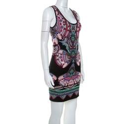Roberto Cavalli Multicolor Lurex Jacquard Knit Sleeveless Dress S