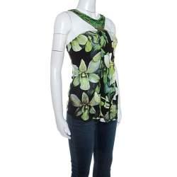 Roberto Cavalli Black Floral Printed Knit Brooch Detail Top S